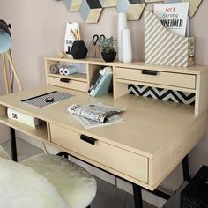 Keep things tidy in your home office with the GRAPHIK Desk. Plenty of storage will ensure that your desk decor is always inspiring and ready for you to get to work! Home Desk, Home Office, Modern Bedroom, Bedroom Decor, Desk With Drawers, Affordable Furniture, Small Office, Desk Organization, My New Room
