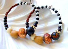 African Hoop Earring Ethnic Tribal Jewelry Black by stoneandbone, $25.95