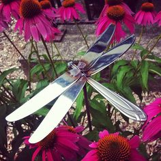 Dragonfly made of old silverware. I LOVE this.
