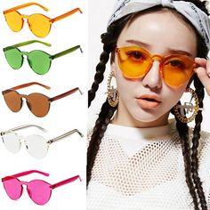 Transparent Candy Color Rimless Sunglasses