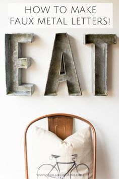 Industrial style faux metal letters - learn how to make these DIY galvanized metal letters using cardboard and paint. The easiest tutorial out there! Diy Karton, Farmhouse Pottery, Pottery Barn Inspired, Design Blog, Cardboard Crafts, Paper Craft, Metal Letters, Cool Diy Projects, Metal Projects