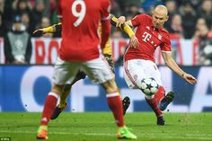 Arjen Robben  opened the scoring for Bayern Munich in a 5-1 win in the 2017 Champions League game against Arsenal, performing his party trick of cutting in from the flank before shooting into the corner