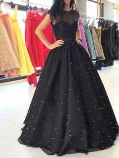 Sparkly Prom Dress, Prom Dress Prom Dresses,Illusion Neck Black Ball Gown Prom Dresses with Sparkly Sequins These 2020 prom dresses include everything from sophisticated long prom gowns to short party dresses for prom. Black Evening Dresses, Black Prom Dresses, Formal Dresses For Women, Cheap Prom Dresses, Trendy Dresses, Formal Gowns, Dress Black, Evening Gowns, Dress Formal