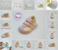 How To Make A Fondant Converse Sneaker Shoe Template . Gum Paste Baby Takkies I Have Made A Few Pairs In . Home Design Ideas Fondant Toppers, Fondant Cakes, Cupcake Cakes, Cupcakes, Cake Decorating Techniques, Cake Decorating Tutorials, Decorating Ideas, Fondant Baby Shoes, Baby Shoes Tutorial