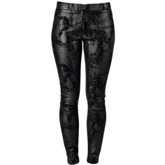J Apostrophe Daimaru Leggings (145 BRL) ❤ liked on Polyvore featuring pants, leggings, bottoms, jeans, calças, black, animal print, python, python print leggings and animal print pants