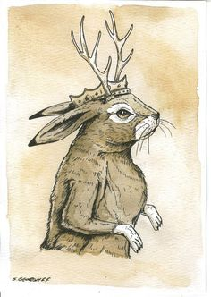 Jackalope  King  5x7 Sepia Print by poordogfarm on Etsy, $10.00