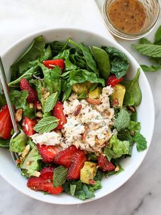 Strawberry and Avocado with Tuna Salad