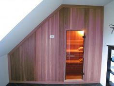 sauna zolder - Google Search Home Spa, Under Stairs, Master Bedroom, Garage Doors, Shed, Outdoor Structures, Building, Outdoor Decor, House