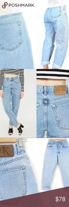 """Calvin Klein • NWT High waisted mom jeans Deadstock NWT vintage high waisted Calvin Klein mom jeans. Light wash. Size 10 or 28. Waist 14.5"""", inseam 29"""" (although tag says 30"""".) Hips 22"""", rise 12"""". No modeling , they do not fit. Same jeans. See cover photos for fit. Similar to Levi's. Vintage Jeans"""