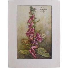 Flower Fairy Print  Circa 1940 #rubylane #VintagePrint