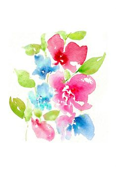 """""""Floral 9"""" A fresh, vibrant magenta, turquoise, red & blue abstract floral watercolour by Asara Design."""