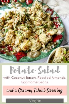 Different textures and flavours combine in this vegan Potato Salad with Coconut Bacon, Roasted Almonds, Edamame Beans and a Creamy Tahini Dressing! It's perfect for summer entertaining, or can be served warm as a winter comfort food! Vegan Potato Salads, Coconut Bacon, Edamame Beans, Olive Recipes, Tahini Dressing, Roasted Almonds, Pasta Salad, Potatoes, Entertaining