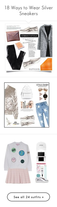 """18 Ways to Wear Silver Sneakers"" by polyvore-editorial ❤ liked on Polyvore featuring waystowear, silversneakers, H&M, Dot & Bo, Nuuna, Michael Kors, Topshop, STELLA McCARTNEY, MCM and Valentino"