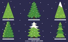 Set of six illustrated Christmas pine trees with snow. Every tree is different…