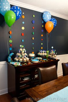 simple decorations-balloons and sewn together paper dots