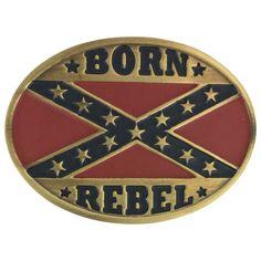 Cody James® Men's Confederate Flag Born Rebel Belt Buckle