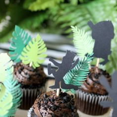 where the wild things are theme silhouettes and leaf cupcake topper set $12