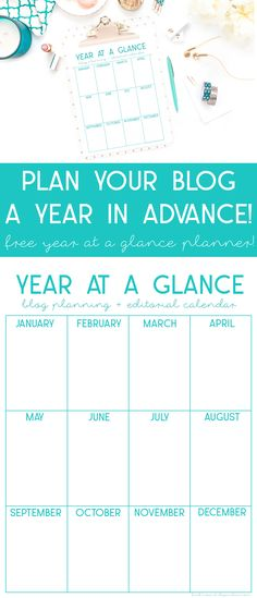 Plan your blog content a year in advance with this year at a glance planner! Free download at skyemclain.com!