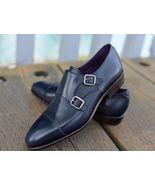 Handmade Double Monk Navy Blue Shoes Cap Toa Brogue Tuxedo Shoes Formal ... - $159.99+