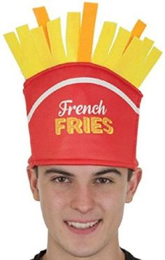 Jacobson Hat Company French Fries Novelty Food Hat -- This food costume is a recipe for winning your Halloween Costume Contest! #food #recipes #halloween #costume