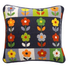 Bloom-Pah-Pah floral tapestry to add a little oomph to your favourite sofa or armchair. Cross Stitching, Cross Stitch Embroidery, Cross Stitch Patterns, Needlepoint Pillows, Needlepoint Patterns, Cushion Embroidery, Hand Embroidery, Tent Stitch, Cross Stitch Cushion