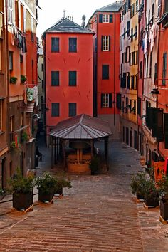 Genoa, Italy Genoa, on the Mediterranean Sea,is one of Europe's largest cities and the biggest seaport inItaly. It is also one of the most colourful cities in Europe. Colour-blind people come here and are instantly cured.