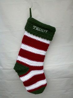 Personalized Striped Crochet Christmas Stocking by BlueWaterGifts, $25.00