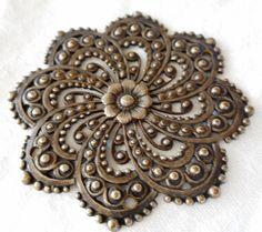 Large VINTAGE Metal Pierced Swirl Flower Jewelry Trim Finding