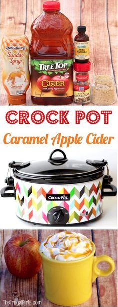 Crock Pot Caramel Apple Cider Recipe! Just 5 ingredients and SO delicious. Perfect for Parties! | http://TheFrugalGirls.com