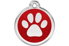 Red Dingo Glitter Enamel Red Paw Print ID tag! Comes in 7 glitter colors!