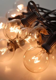 """Paper Lantern Lights (for 12"""" -24"""" lanterns) with 10 Clear Bulbs (36"""" spacing) Black Cord (31.5')"""