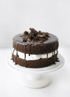 Basic sponge cake. To make this basic sponge chocolate flavoured, add cocoa powder to the flour. To make a lemon cake add lemon zest and to make a coffee cake add coffee granules mixed with a little water.
