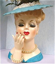 Beautiful blue lady with pearls Napco 1950s head vase