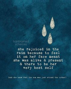 Inspirational Typography Poster Digital Art Print Navy Blue Rain Raindrops Weather Home Wall Decor Rustic - she rejoiced in the rain - Pretty Words, Beautiful Words, Quotes To Live By, Me Quotes, Nature Quotes, Rainy Day Quotes, I Love Rain, Thing 1, Typography Inspiration