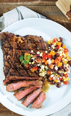 Around here, summer is pretty much synonymous with grilling. Fire up the grill for this Grilled Chile-Coffee T-Bone Steak with Black Bean & Sweet Corn Salad meal. Pepperidge Farm Cookies, Cilantro Lime Vinaigrette, T Bone Steak, Angus Beef, Chili Lime, Corn Salads, Sweet Corn, Steak Recipes, Dinner Tonight