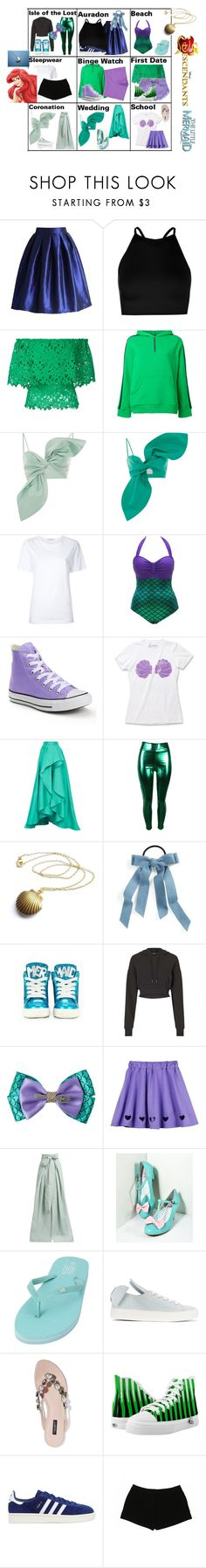 """""""Ariel and Eric's Daughter"""" by tfryer ❤ liked on Polyvore featuring Disney, Chicwish, Boohoo, Bambah, Roseanna, Leal Daccarett, Astraet, Converse, Cara and Miss KG"""