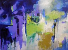 LARGE BLUE ABSTRACT Modern Expressionistic by MElizabethChapman
