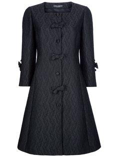 Dolce & Gabbana Flared Paisley Print Coat in Black