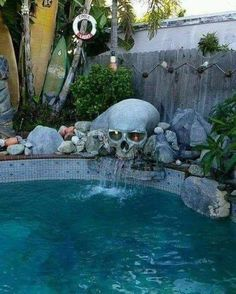 Home Decor Living Room 56 ideas backyard water feature waterfalls swimming pools.Home Decor Living Room 56 ideas backyard water feature waterfalls swimming pools Casa Rock, Goth Home Decor, Backyard Water Feature, Skull Decor, Dream Pools, Gothic House, Cool Pools, Water Features, My Dream Home