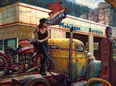 """Full painting 30""""x40"""" Fuel for the Soul""""#sturgis commemorative #2017 #indian #motorcycle #vintage #antique #barn find #ford #chevy #truck #ratrod  #oilpainting #linen #gas #mobiloil #mobilgas #Pegasus #blackhills #bikeweek"""