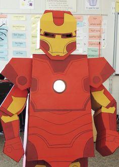 DIY box hero Iron Man halloween costume.