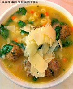 """Italian Wedding Soup.  Very good and easy.  I baked the meatballs and used half pork and half beef.  I also added about 3 more cups of ck. broth since pasta really soaks it up.  I think I would use less pasta if I wanted it more """"soupy"""" PL"""