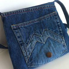 Small cross body bag recycled jean messenger bag от Sisoibags