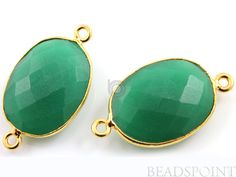 Natural Green Onyx Oval Connector 24K Gold Vermeil by Beadspoint, $5.99