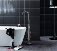 Information about Fancy Black Wall Tile Black Wall Tiles, Black Walls, Topps Tiles, Bathtub, Fancy, Bathroom, Blue, Reading, Books