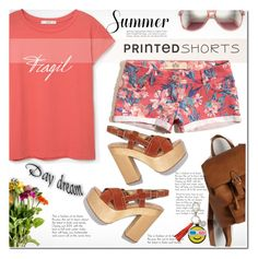 """""""Prints Charming: A Shorts Story"""" by rosie305 ❤ liked on Polyvore featuring Wildfox, Hollister Co., MANGO, Rebecca Minkoff and printedshorts"""