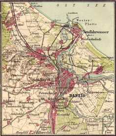 Danzig im Koenigreich Preussen Danzig, Fantasy Map, Historical Maps, Pretty Photos, Prussia, Genealogy, Vintage World Maps, Germany, How To Plan