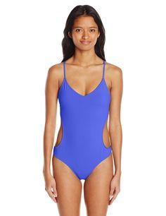 828a35f99d8 Eidon Women's Flavors Lotus One Piece Swimsuit, Acai, Medium. Shelf bra.  Removable