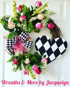 Valentine's Harlequin Heart Wreath Valentine's Day Home Wall Front Door Decor Wreath Black White Pink Wreath Floral Wreath Heart Sign Pink Roses Valentine Day Wreaths, Valentines Day Decorations, Valentine Day Crafts, Holiday Wreaths, Holiday Crafts, Printable Valentine, Homemade Valentines, Valentine Ideas, Easter Wreaths