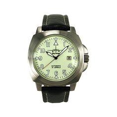 SkyTimer 507545031Planeador-Reloj automático Miyota 8215, carcasa de acero inoxidable 43x 43mm, base de vidrio, 5ATM Impermeable, correa de piel